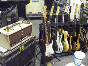 guitars tuning set up on stage